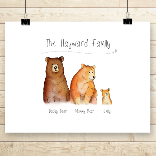 Personalised Bear Poster Family Of 3