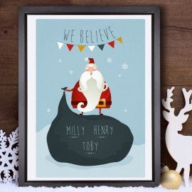 Personalised 'We Believe in Santa' Christmas Poster - 3 names