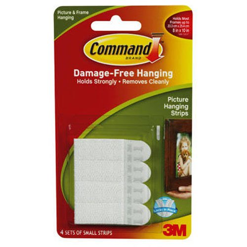 Command 17202 Picture Hanging Strips  - Small, White, Pack of 1 (1 x 4 Sets)