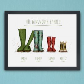 Personalised Wellington Boot Poster - Family of 4