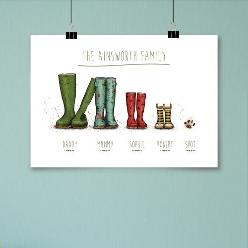Personalised Wellington Boot Poster Family Of 4 Plus Paw