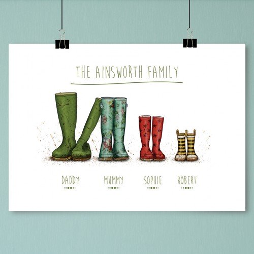 Personalised Wellington Boot Poster Family Of 4