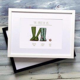 Personalised Wellington Boot - Couple and PAW