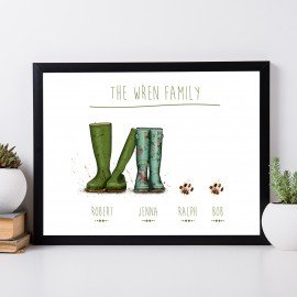 Personalised Wellington Boot - Couple and 2 PAWs