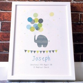 Personalised Nursery Christening Poster - Boys